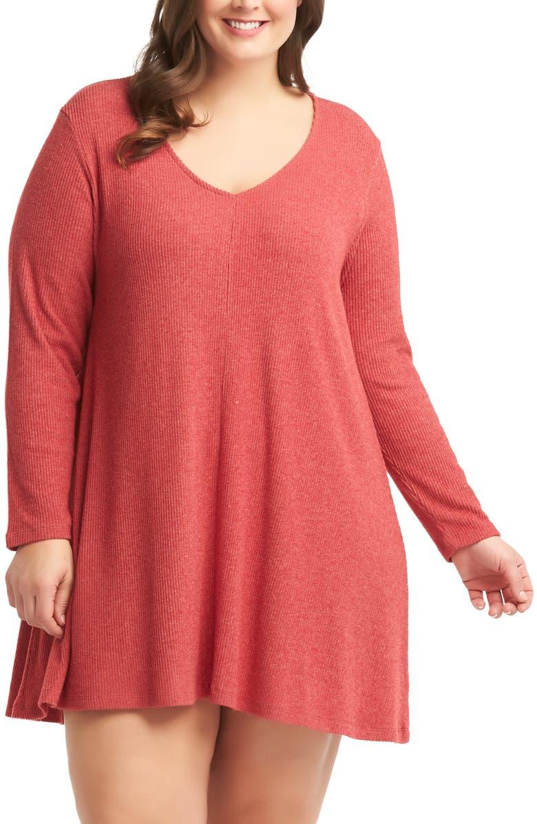 LEMON TART Gina Sweater Minidress, Main, color, CRANBERRY