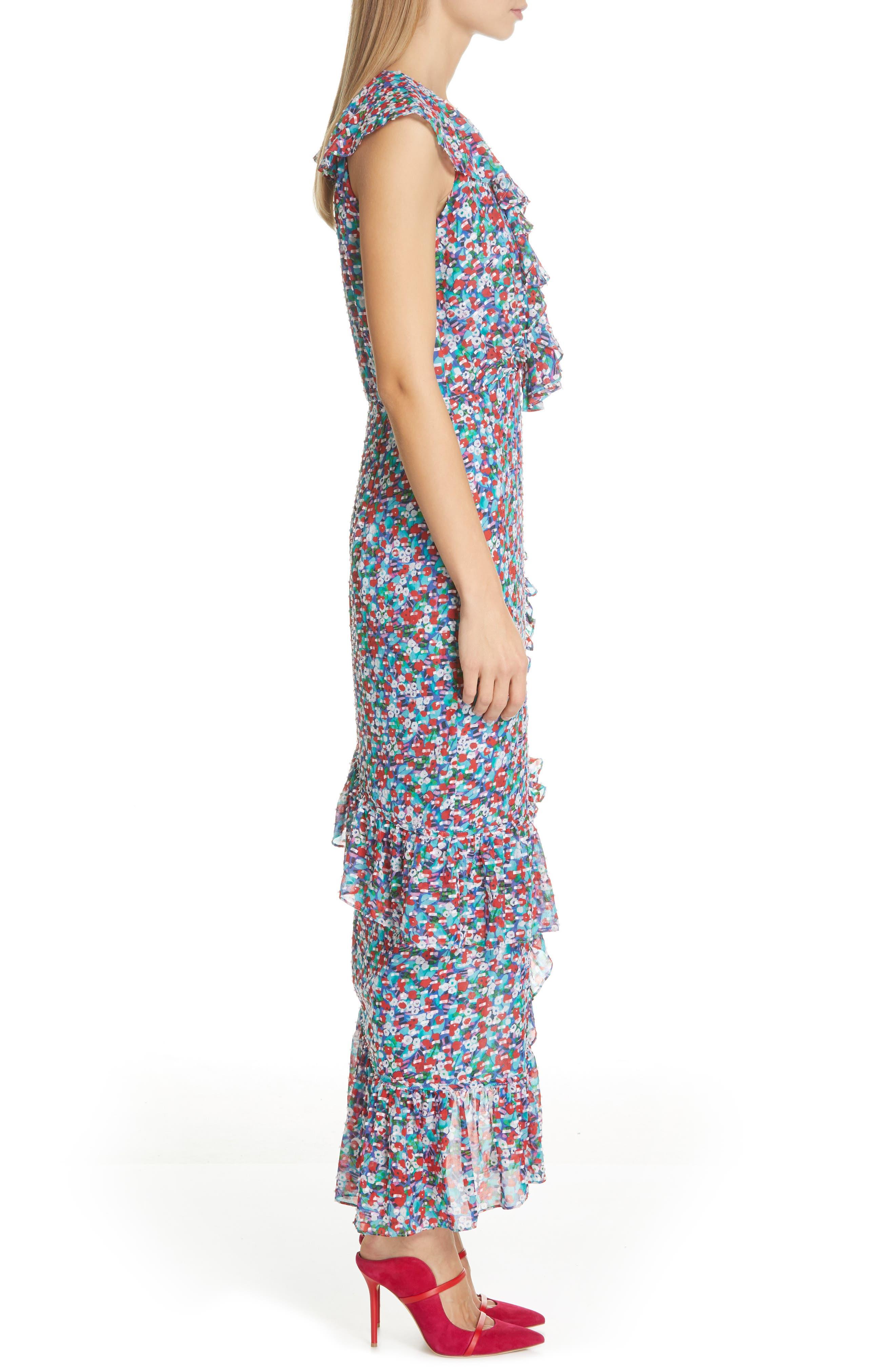 ,                             Anita Ruffle Trim Silk Burnout Dress,                             Alternate thumbnail 4, color,                             BLUE POPPYFIELD