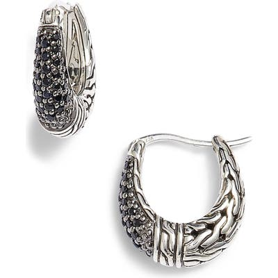 John Hardy Classic Chain Gemstone Hoop Earrings