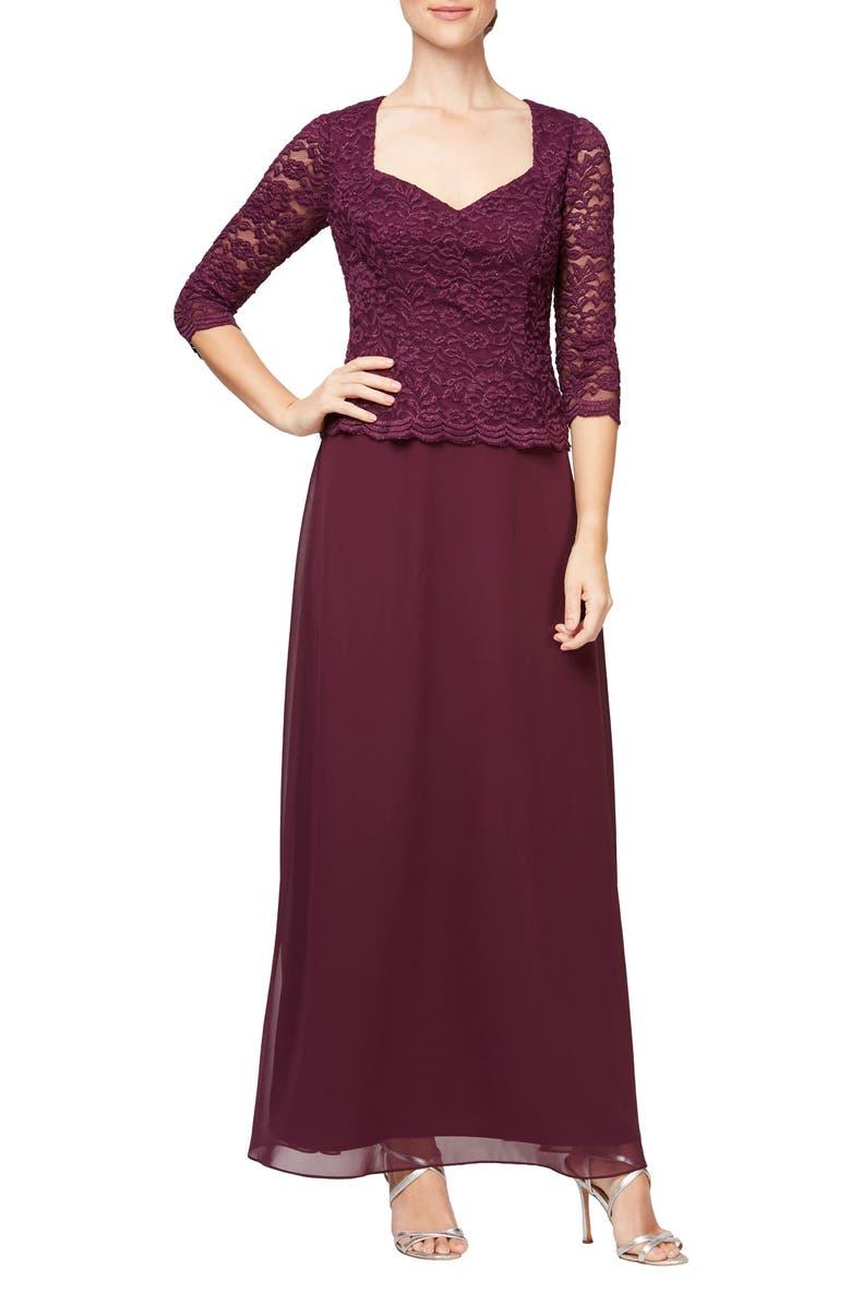 ALEX EVENINGS Sequin Lace Mock Two-Piece Gown, Main, color, PLUM