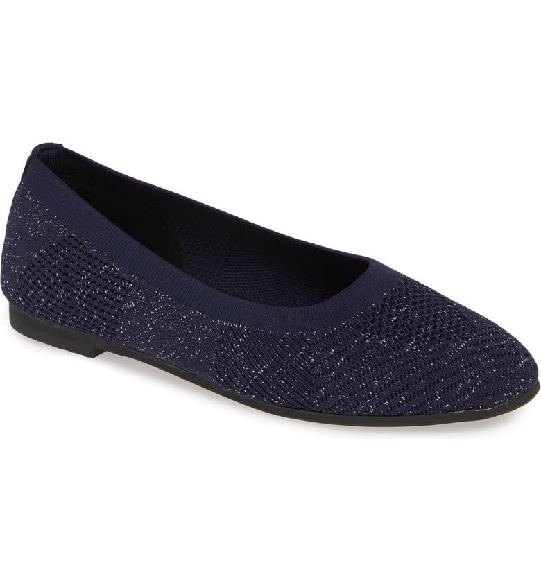 BERNIE MEV. Nikki Flat, Main, color, NAVY/ SILVER FABRIC