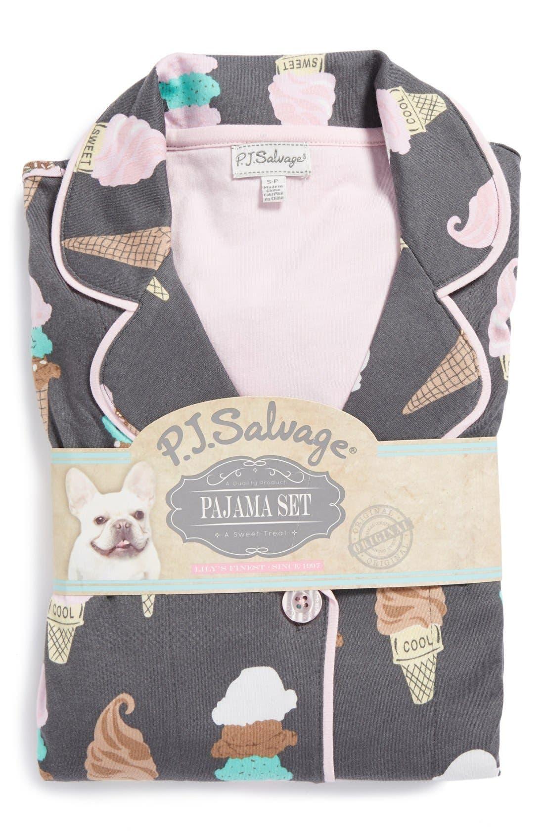 ,                             Print Jersey Pajamas,                             Alternate thumbnail 4, color,                             020