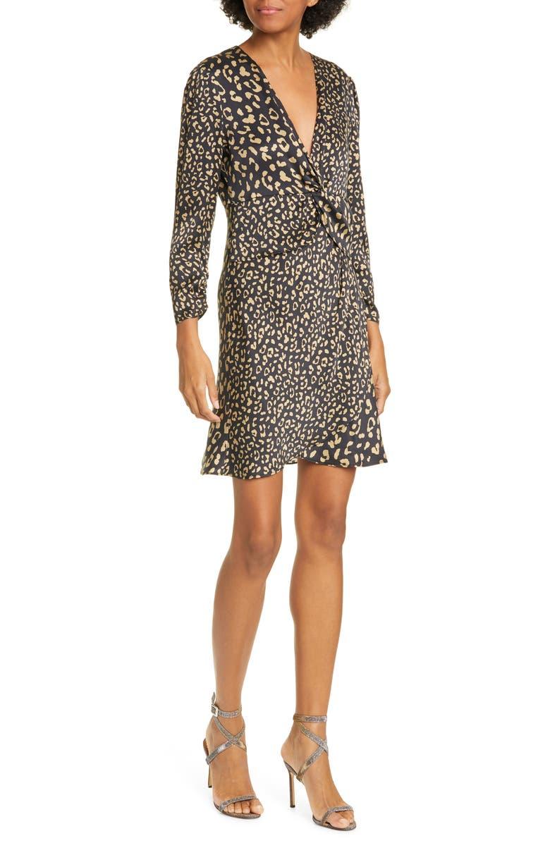 RIXO Lilly Leopard Print Silk Minidress, Main, color, LEOPARD - BLACK GOLD