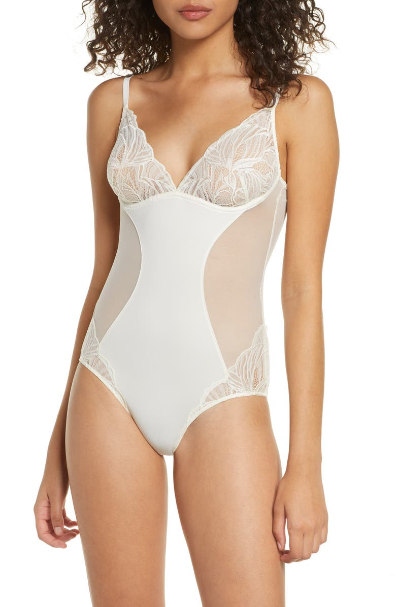CALVIN KLEIN Perfectly Fit Lace Bodysuit, Main, color, IVORY