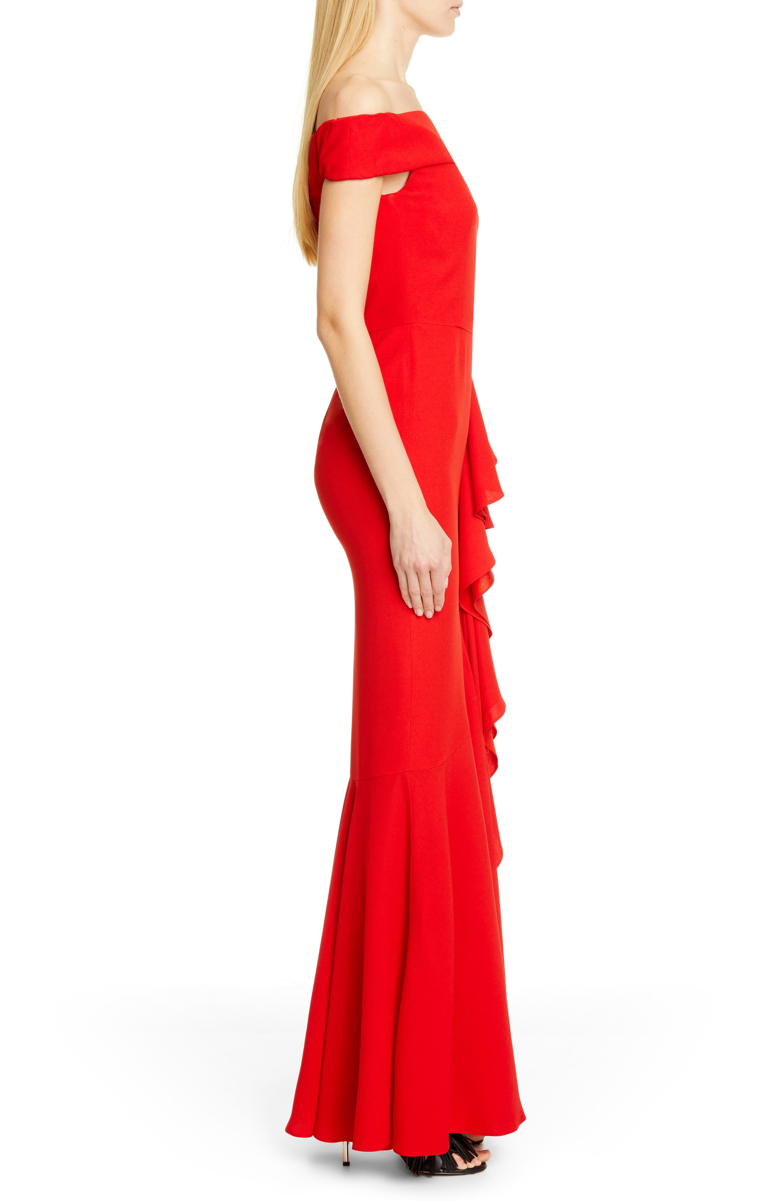 ,                             Ruffle Off the Shoulder Evening Dress,                             Alternate thumbnail 3, color,                             LUST RED