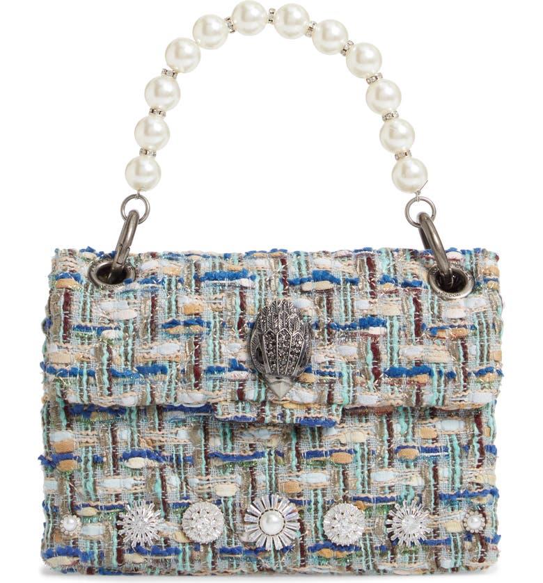 KURT GEIGER LONDON Mini Kensington X Tweed Shoulder Bag, Main, color, PALE BLUE