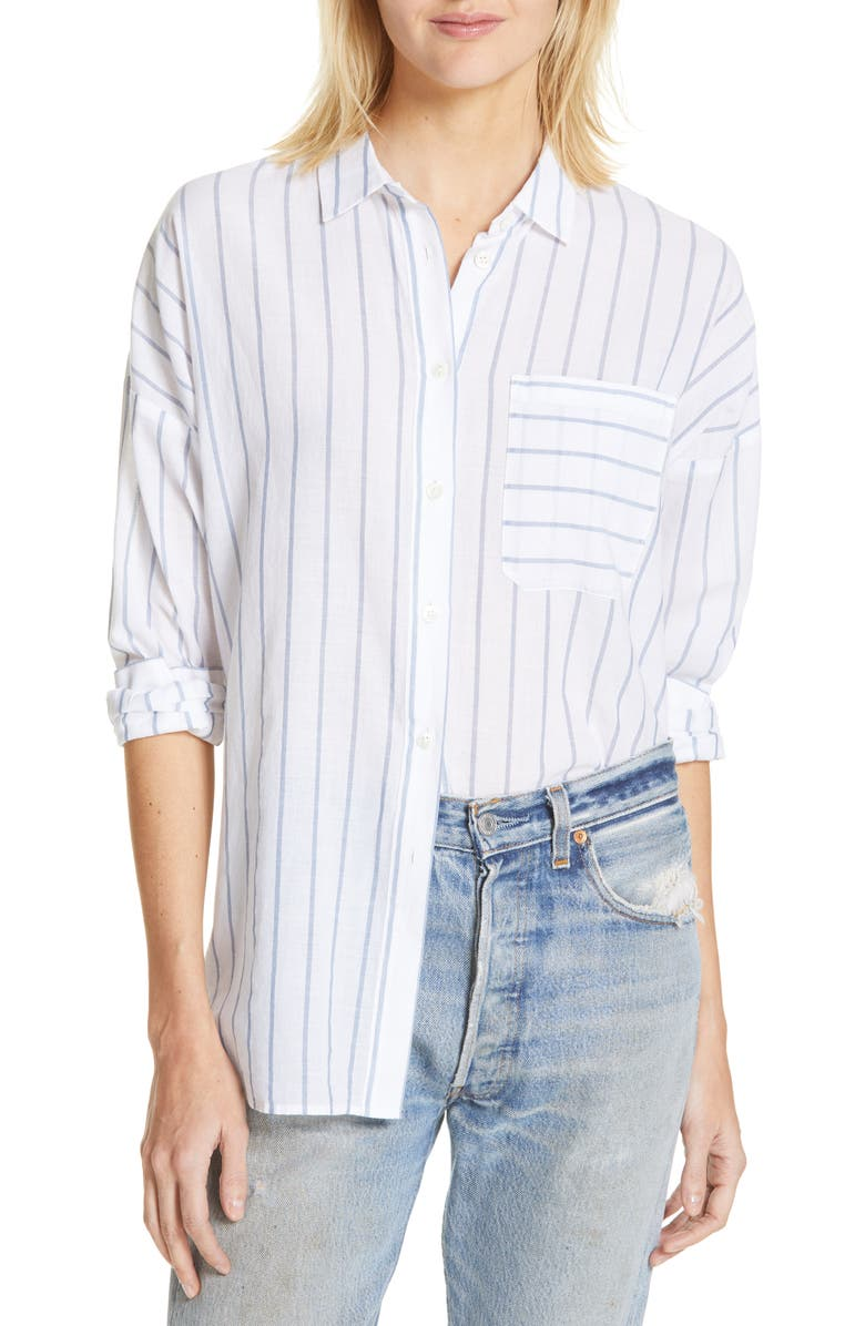 ATM ANTHONY THOMAS MELILLO Railroad Stripe Boyfriend Shirt, Main, color, INDIGO/ WHITE BENGAL STRIPE
