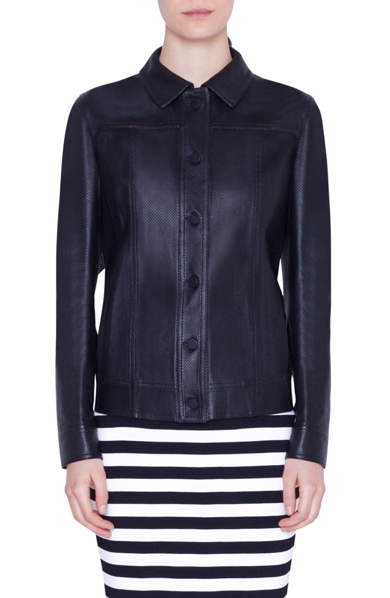 AKRIS PUNTO Ruffle Detail Perforated Leather Jacket, Main, color, BLACK
