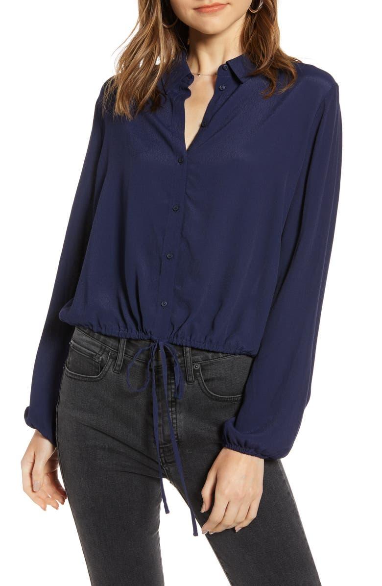 TREASURE & BOND Tie Waist Button-Up Blouse, Main, color, NAVY MARITIME
