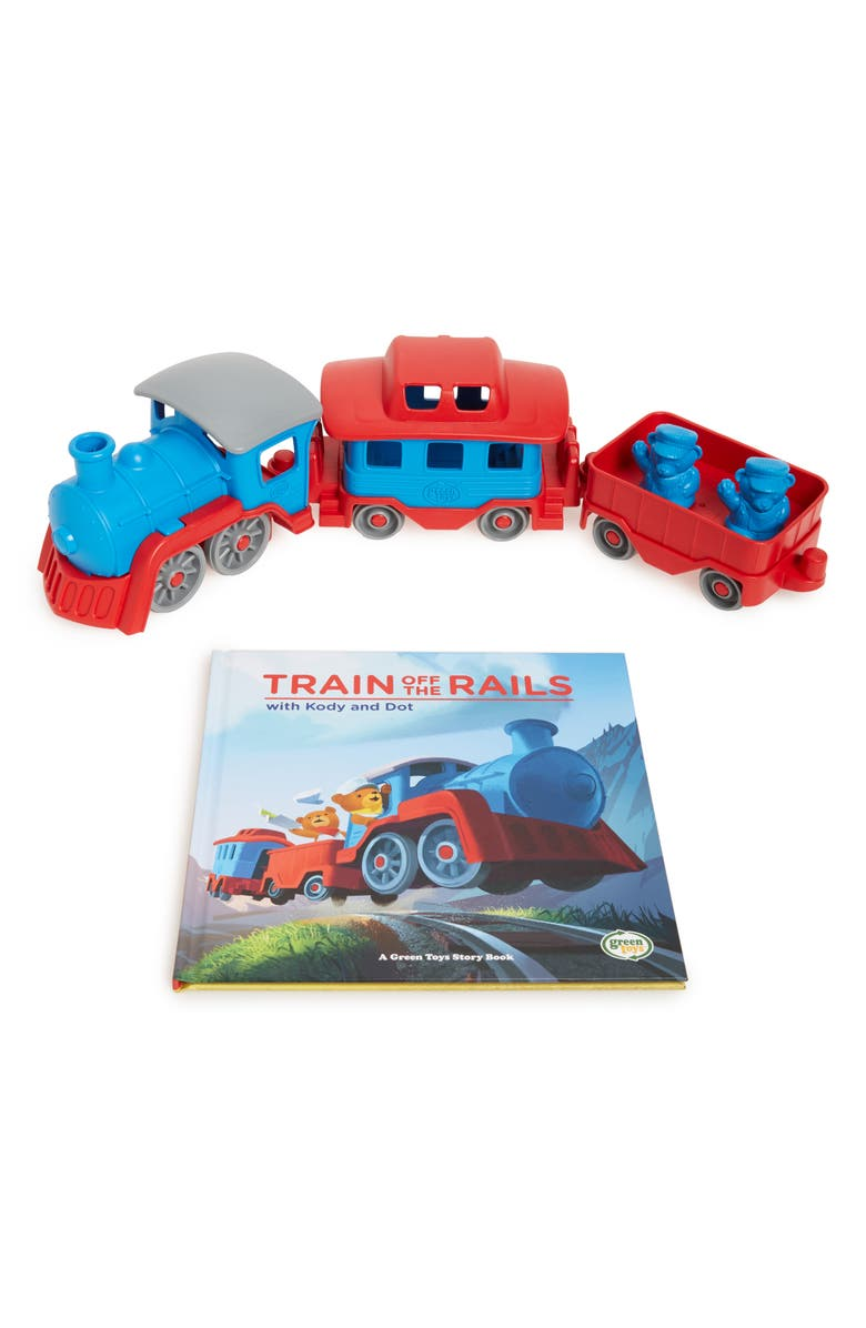 GREEN TOYS Train Off The Rails Book & Toy Set, Main, color, 400