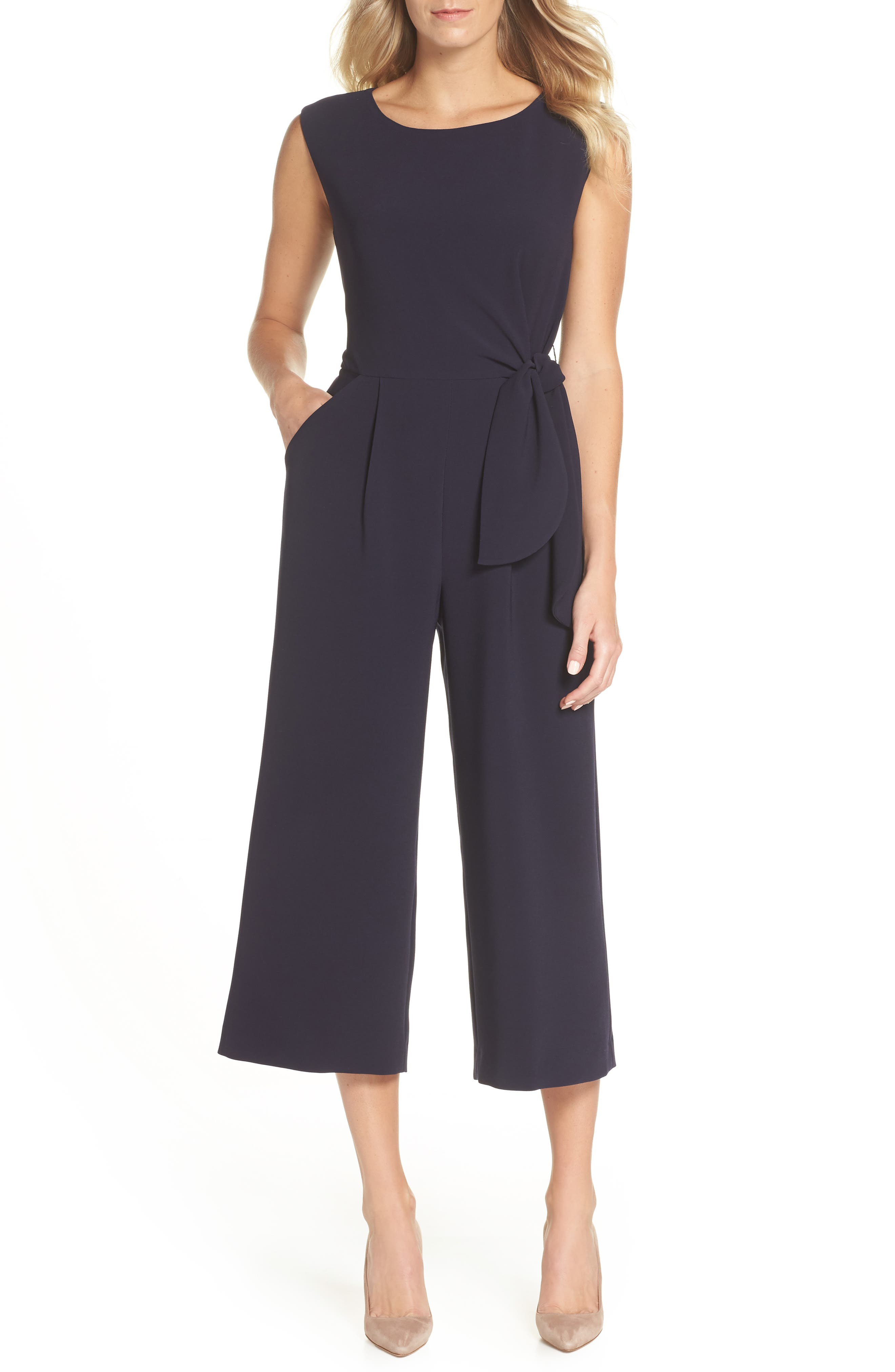 Tie Waist Crepe Crop Jumpsuit, Main, color, NAVY