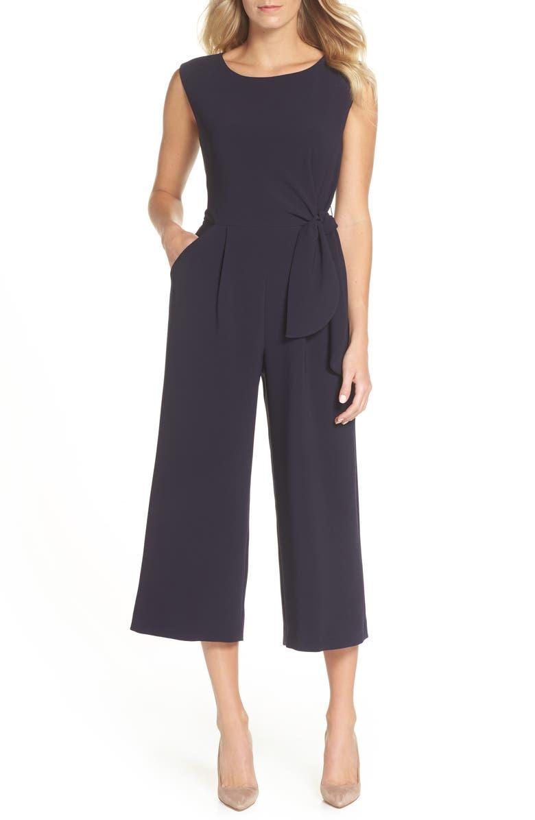 TAHARI Tie Waist Crepe Crop Jumpsuit, Main, color, NAVY