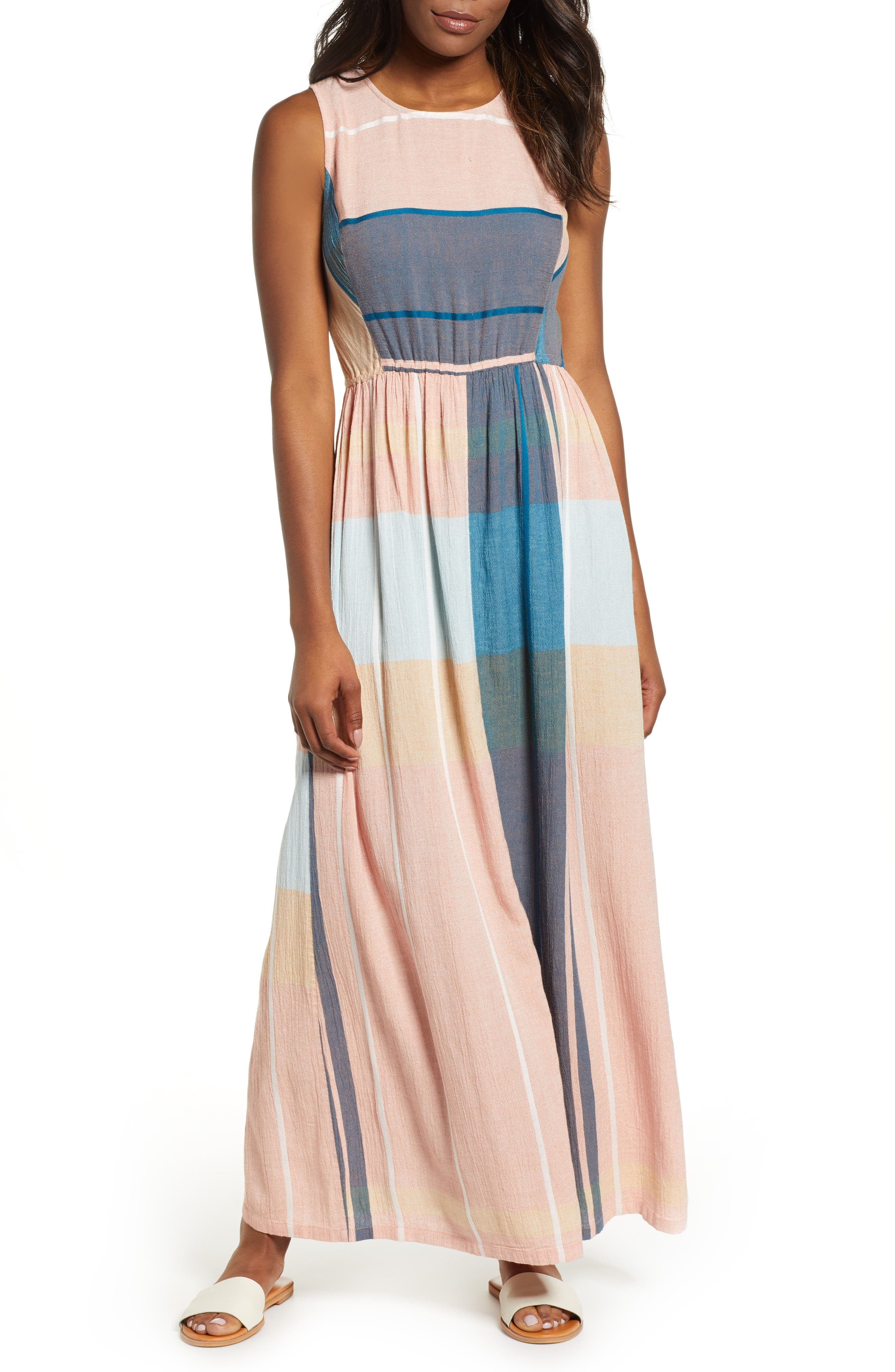 Caslon Smocked Back Maxi Dress, Pink