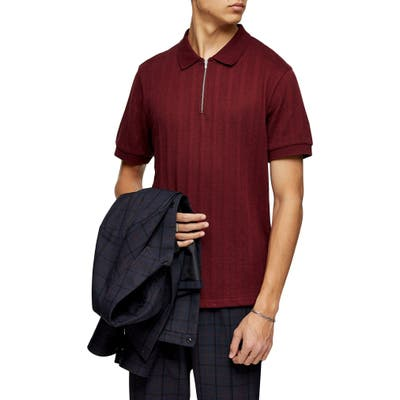 Topman Mesh Stripe Zip Polo, Burgundy
