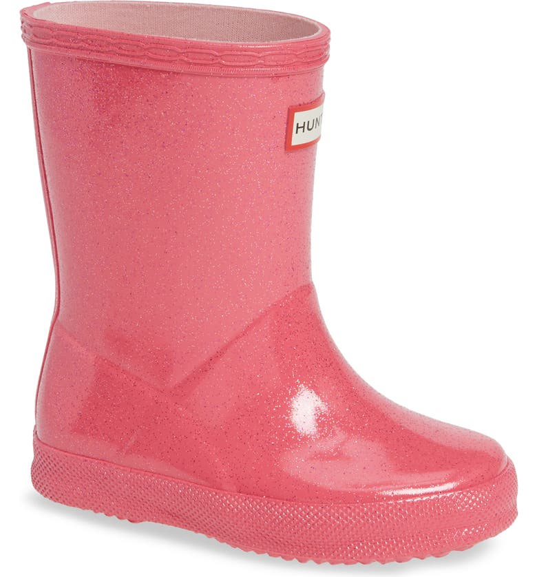 HUNTER Kids First Classic Starcloud Glitter Rain Boot, Main, color, ARCADE PINK
