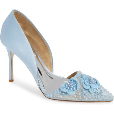 Badgley Mischka Ophelia Beaded Floral Pointed Toe Pump- Blue