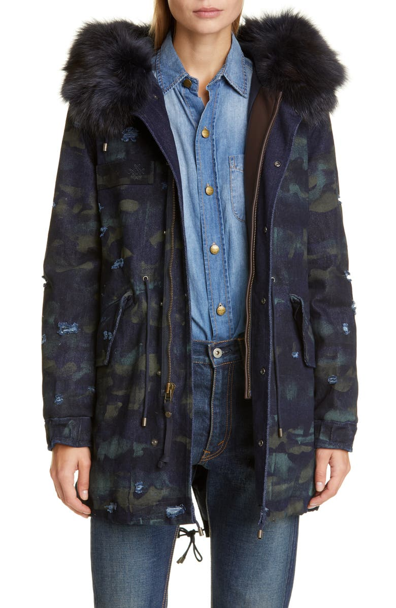 MR & MRS ITALY Distressed Camo Denim Parka with Genuine Fox Fur Trim, Main, color, BLUE DENIM