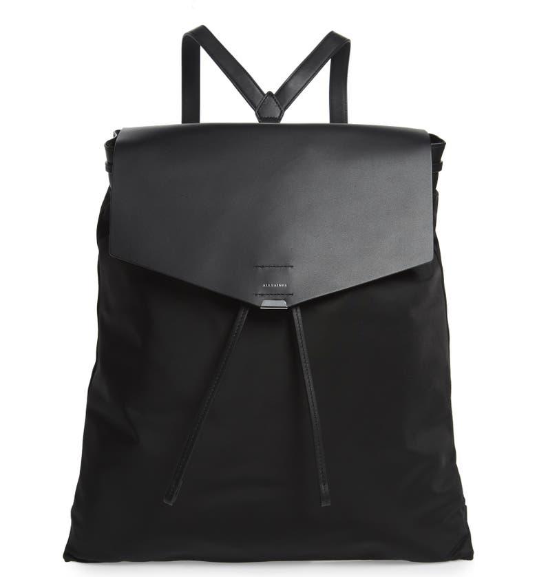 ALLSAINTS Nilo Nylon Backpack, Main, color, 001