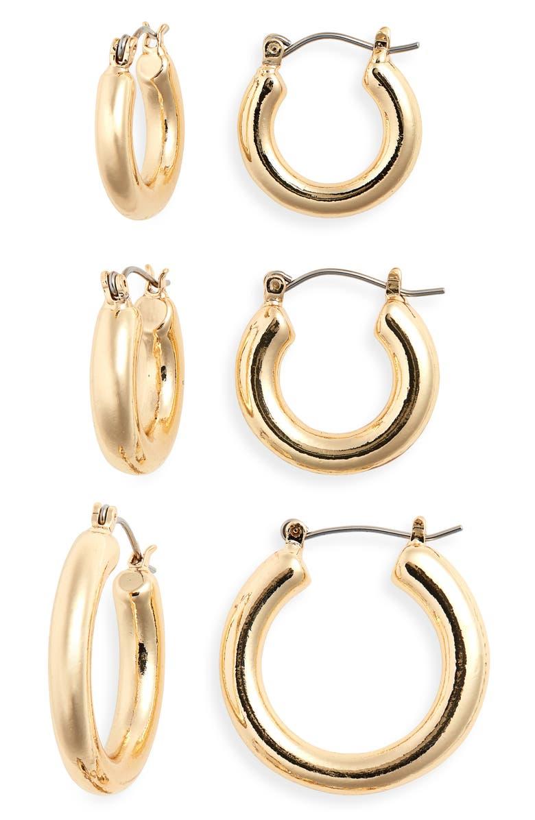 BP. Set of 3 Tube Hoop Earrings, Main, color, 710