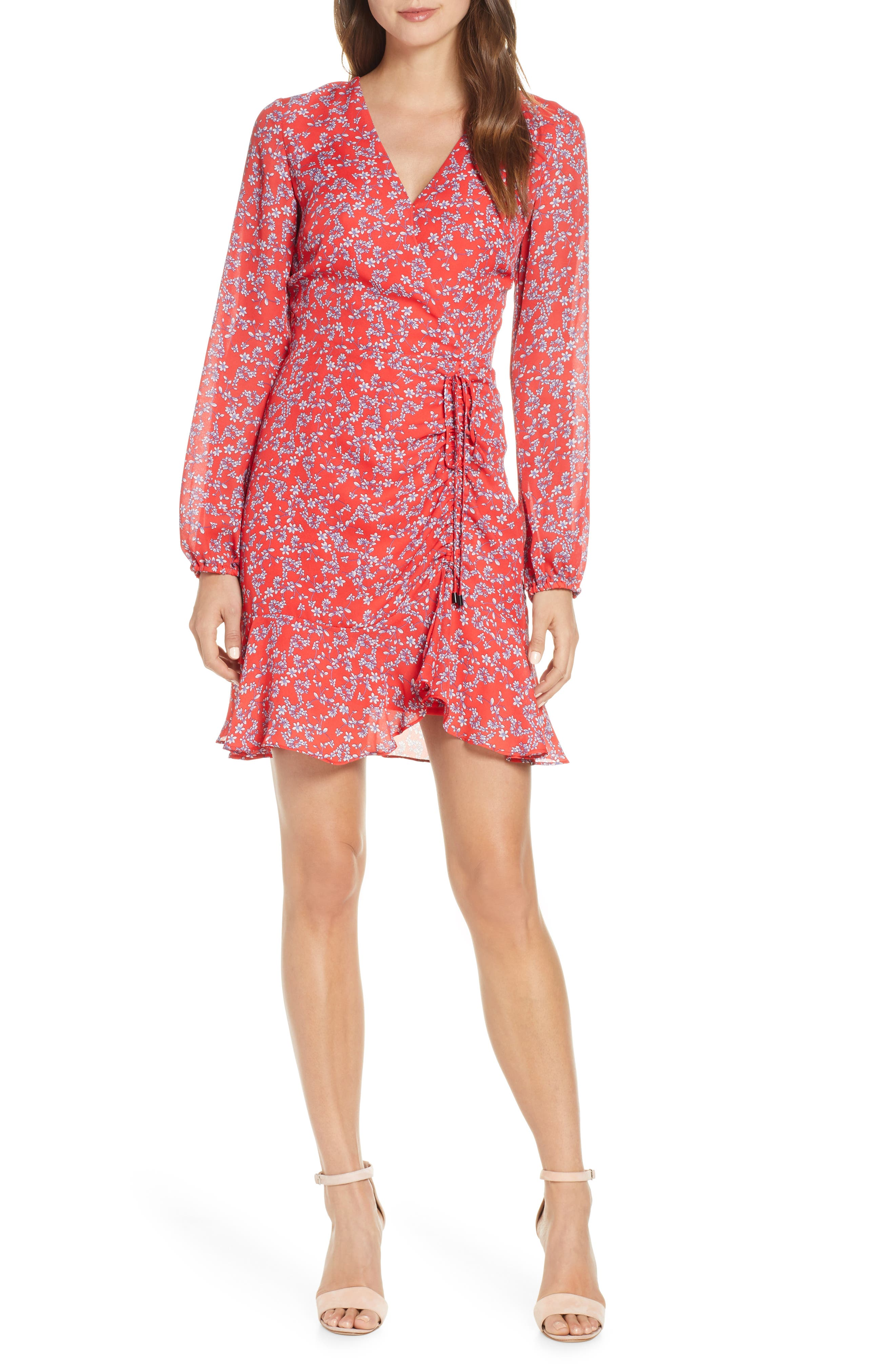 Adelyn Rae April Print Long Sleeve Ruched Dress, Red