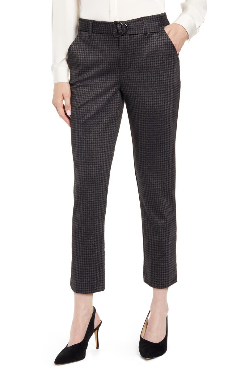 WIT & WISDOM Ab-solution High Waist Straight Leg Crop Pants, Main, color, CCBR- CHARCOAL BROWN