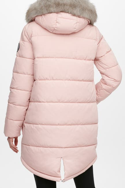 Image of DKNY Zip Front Puffer with Faux Fur Trim Hood