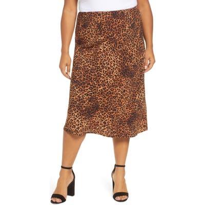 Plus Size Bobeau Lyndon Satin Bias Skirt, Brown