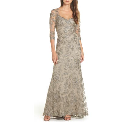 Tadashi Shoji Corded Embroidered Lace Gown, Grey