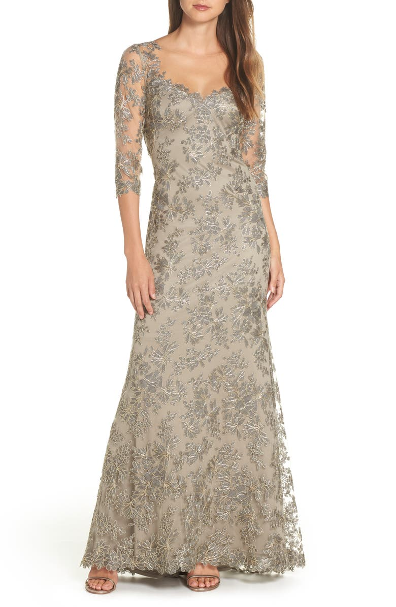 TADASHI SHOJI Corded Embroidered Lace Gown, Main, color, 050