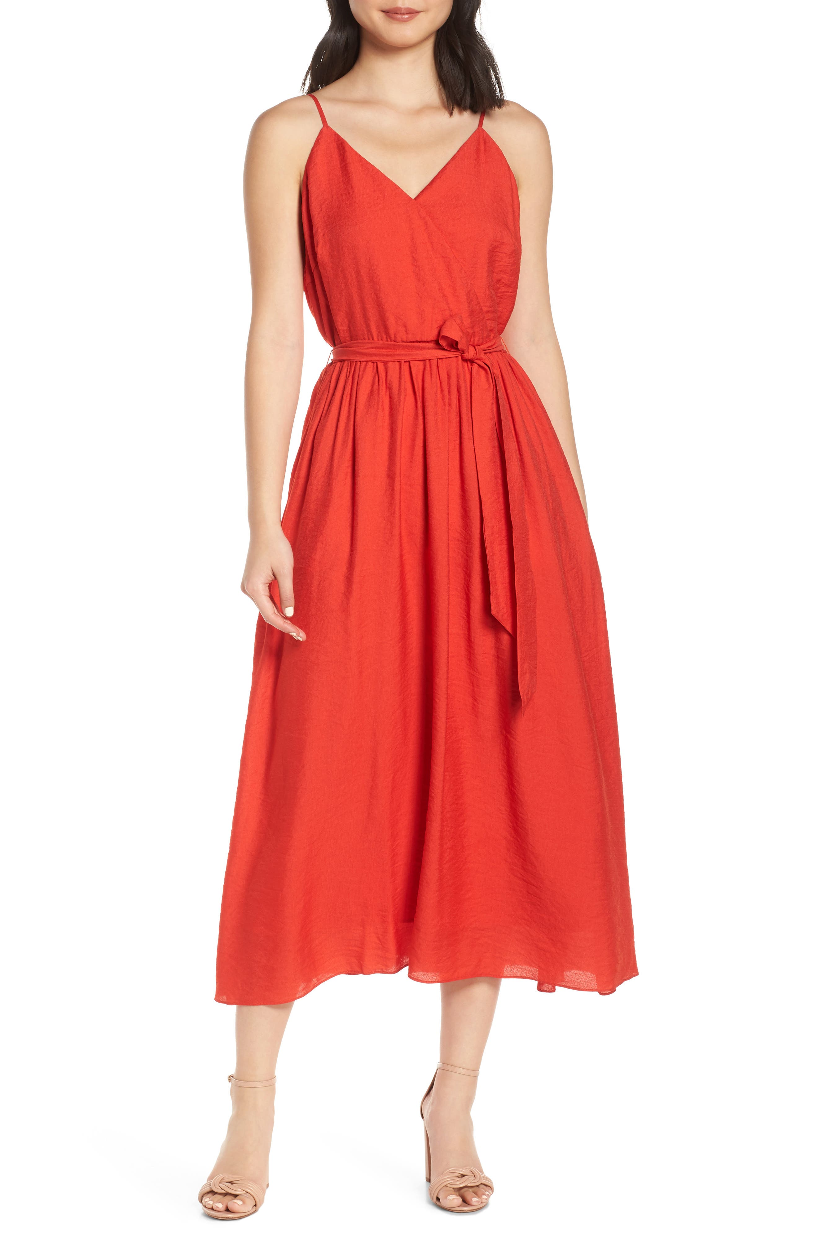 Chelsea28 Faux Wrap Midi Dress, Red