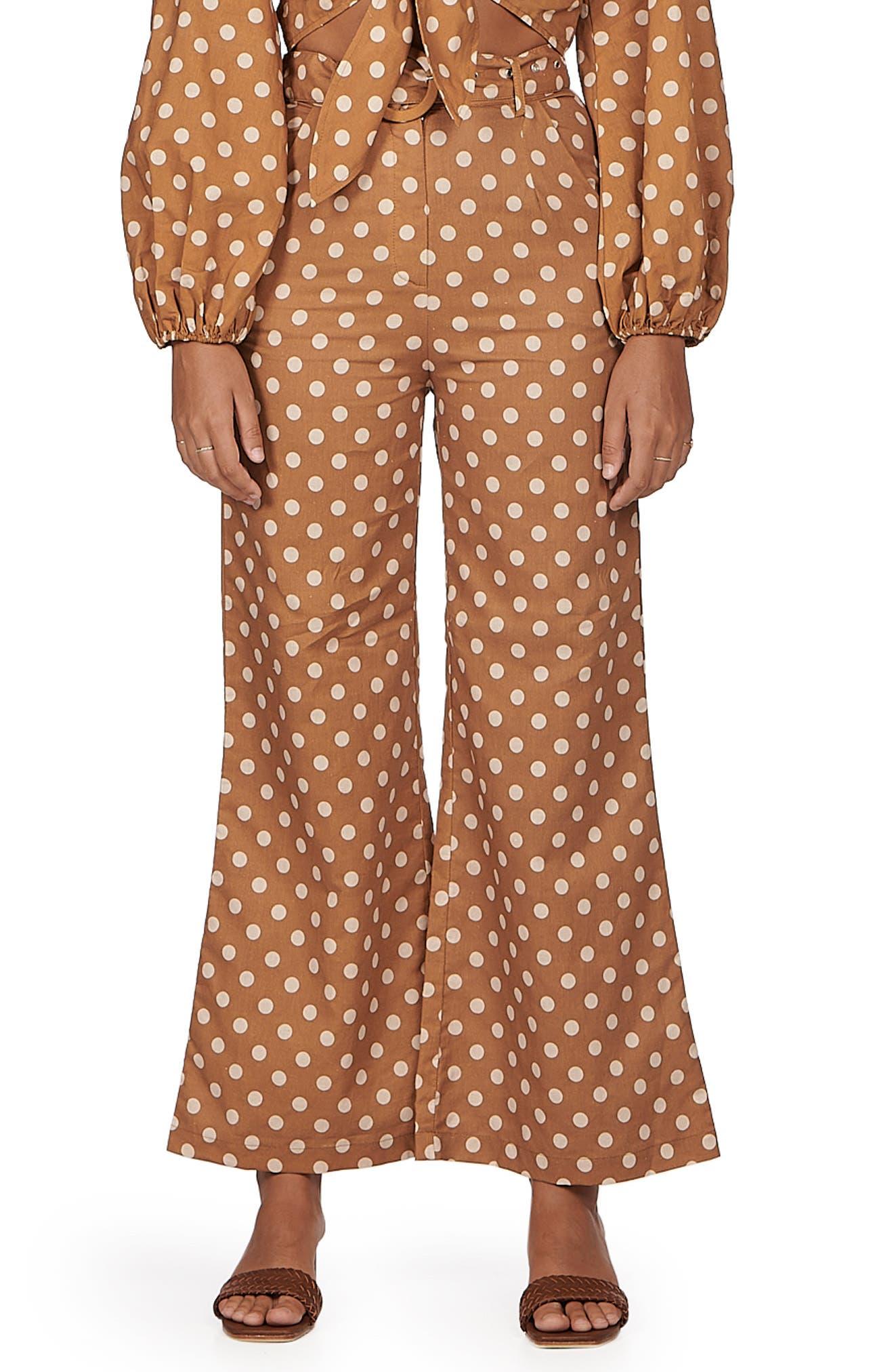 Maple Polka Dot Wide Leg Linen & Cotton Pants