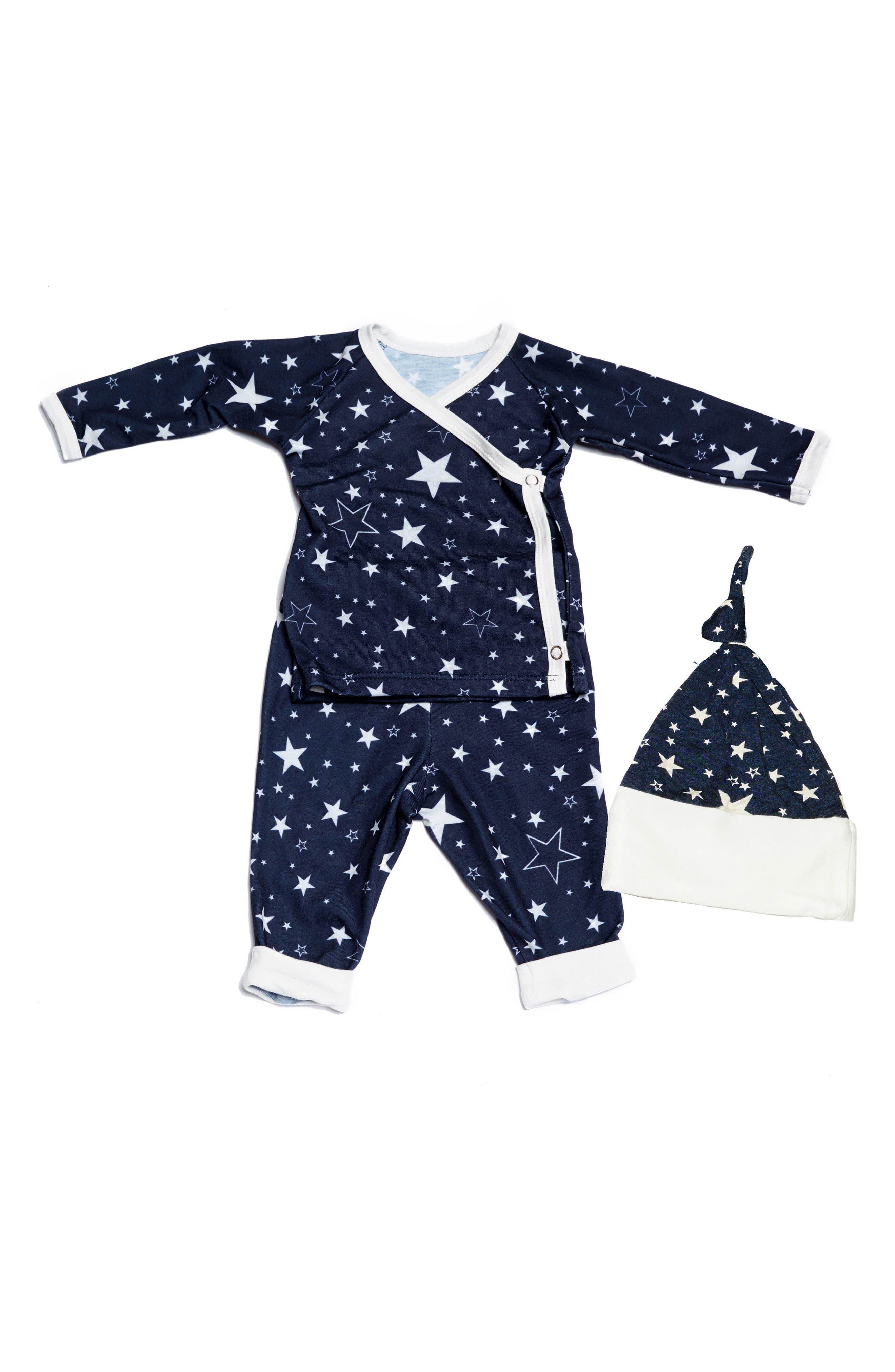 Wrap Top, Pants & Knotted Hat Set, Main, color, STARS