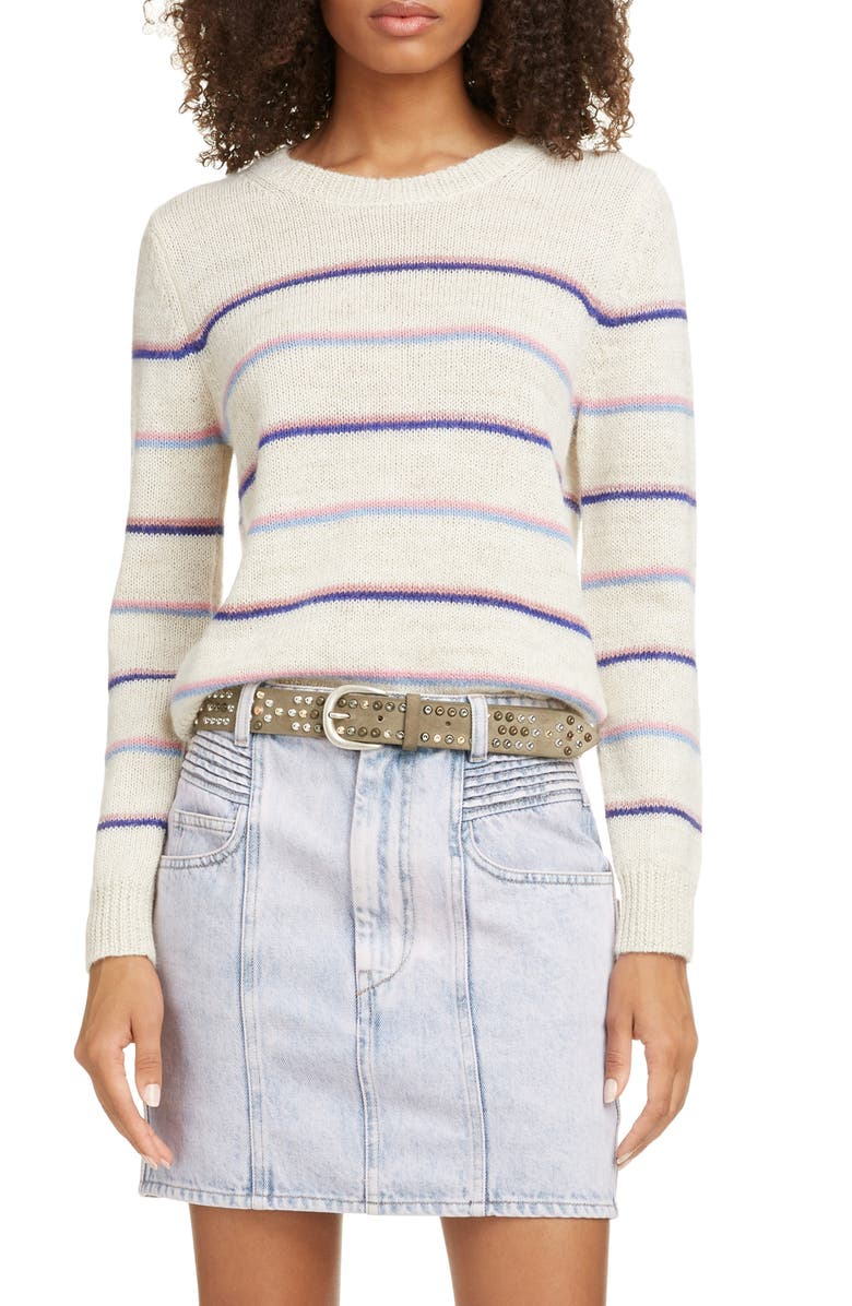 ISABEL MARANT ÉTOILE Gian Stripe Sweater, Main, color, PINK/ ECRU