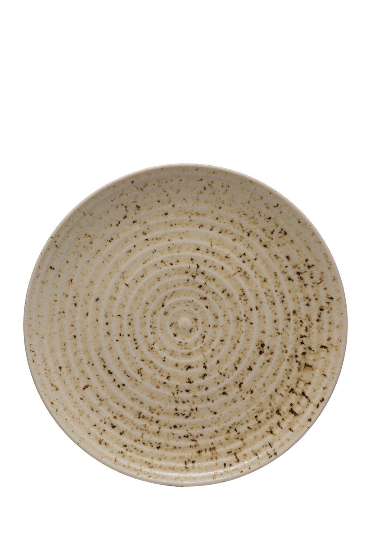Image of Creative Co-op Beige/Brown Reactive Glaze Round Stoneware Plate