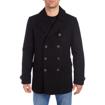 Vince Camuto Water Resistant Wool Blend Peacoat, Black