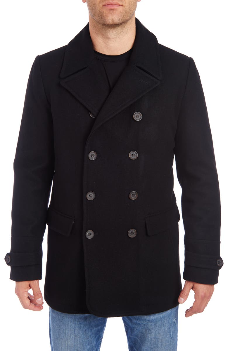 VINCE CAMUTO Water Resistant Wool Blend Peacoat, Main, color, BLACK