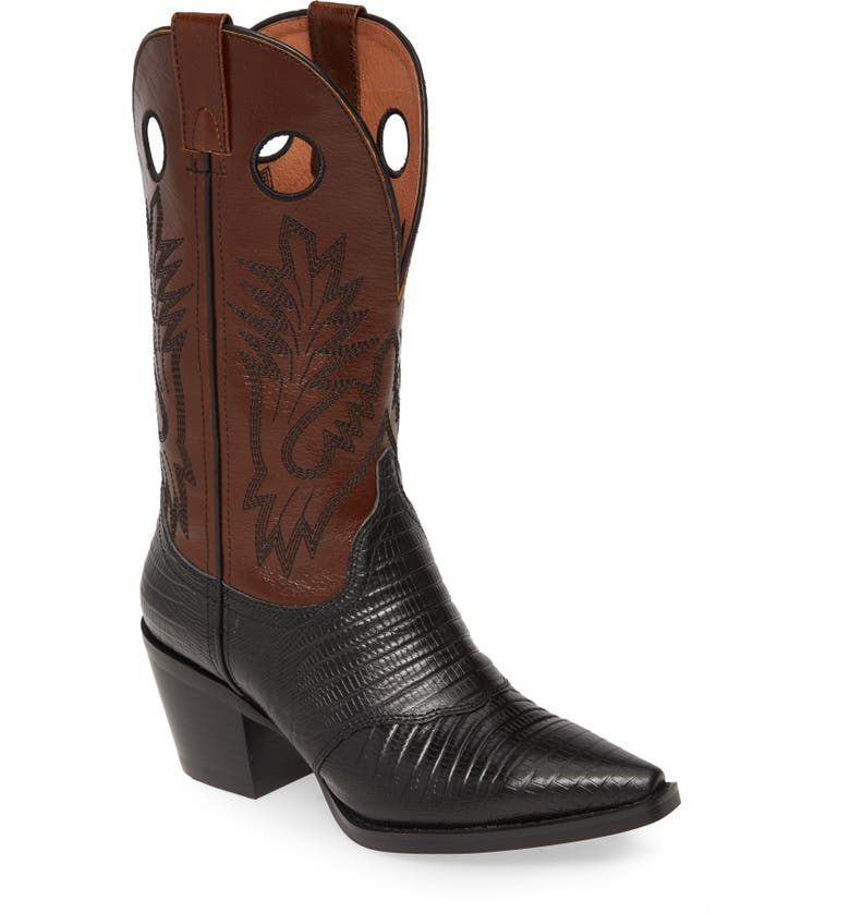 JEFFREY CAMPBELL Old Town Western Boot, Main, color, BLACK LIZARD PRINT/ BROWN
