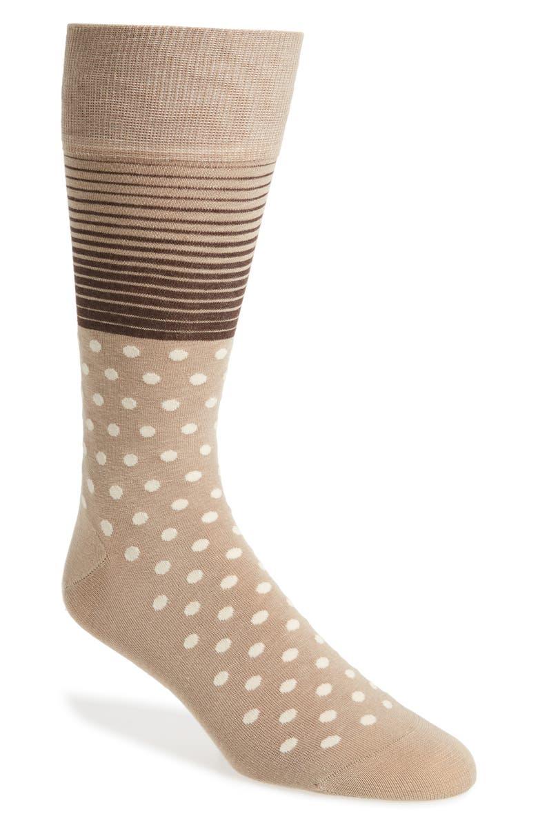 COLE HAAN Stripe & Dot Socks, Main, color, DUNE
