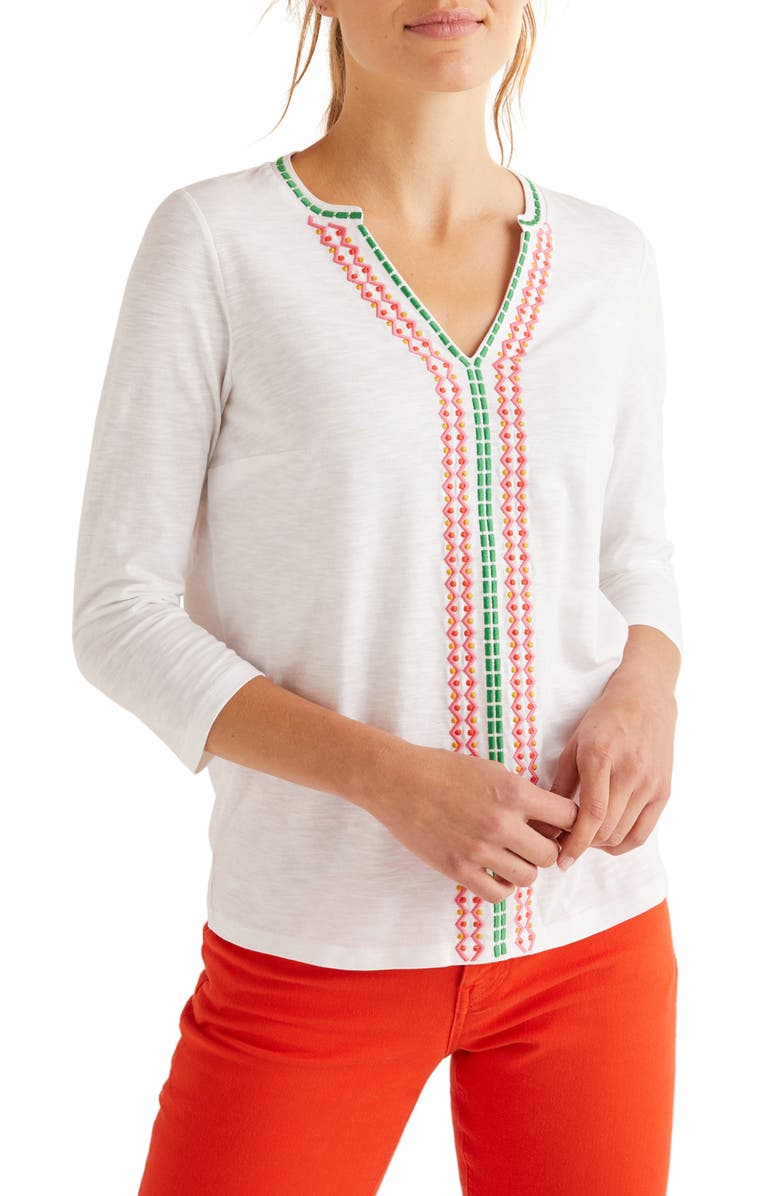 BODEN Peggy Embroidered Jersey Top, Main, color, WHITE