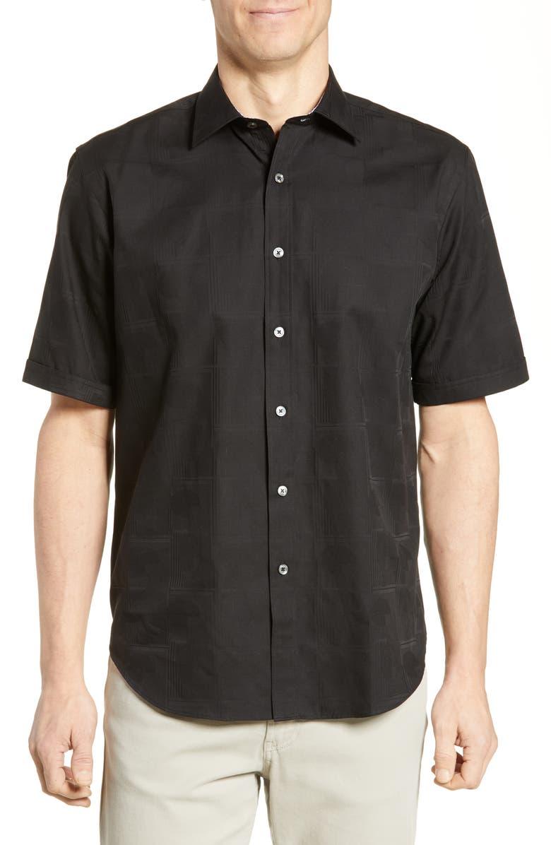 BUGATCHI Classic Fit Jacquard Sport Shirt, Main, color, BLACK