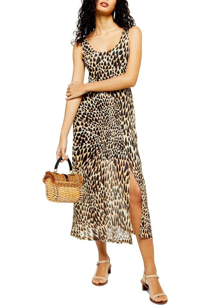 TOPSHOP Animal Print Midi Dress, Main, color, IVORY MULTI