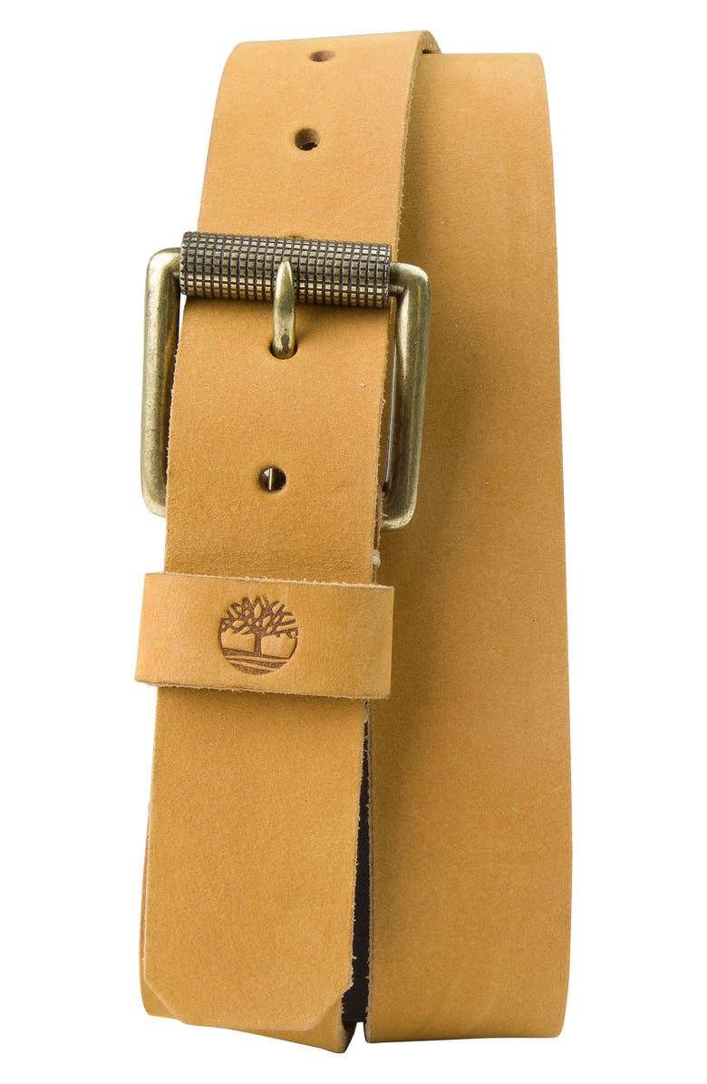 TIMBERLAND Leather Belt, Main, color, WHEAT