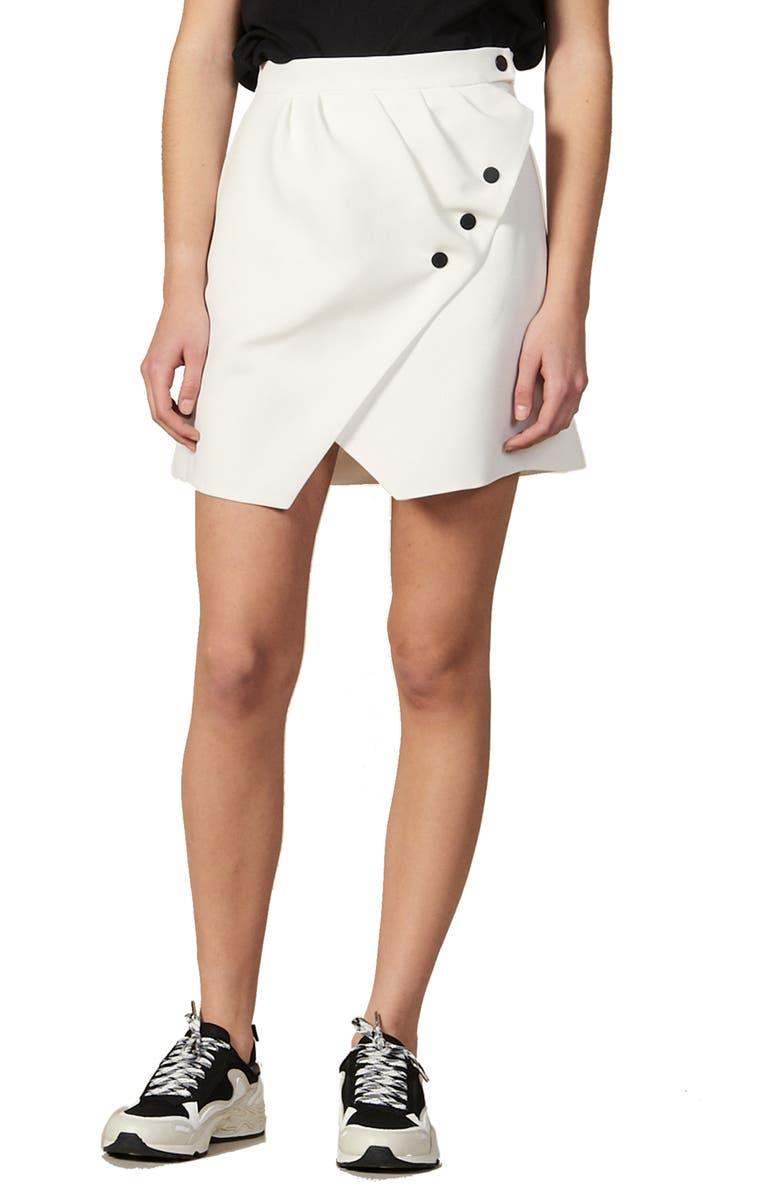 SANDRO Zoelle Wrap Miniskirt, Main, color, ECRU