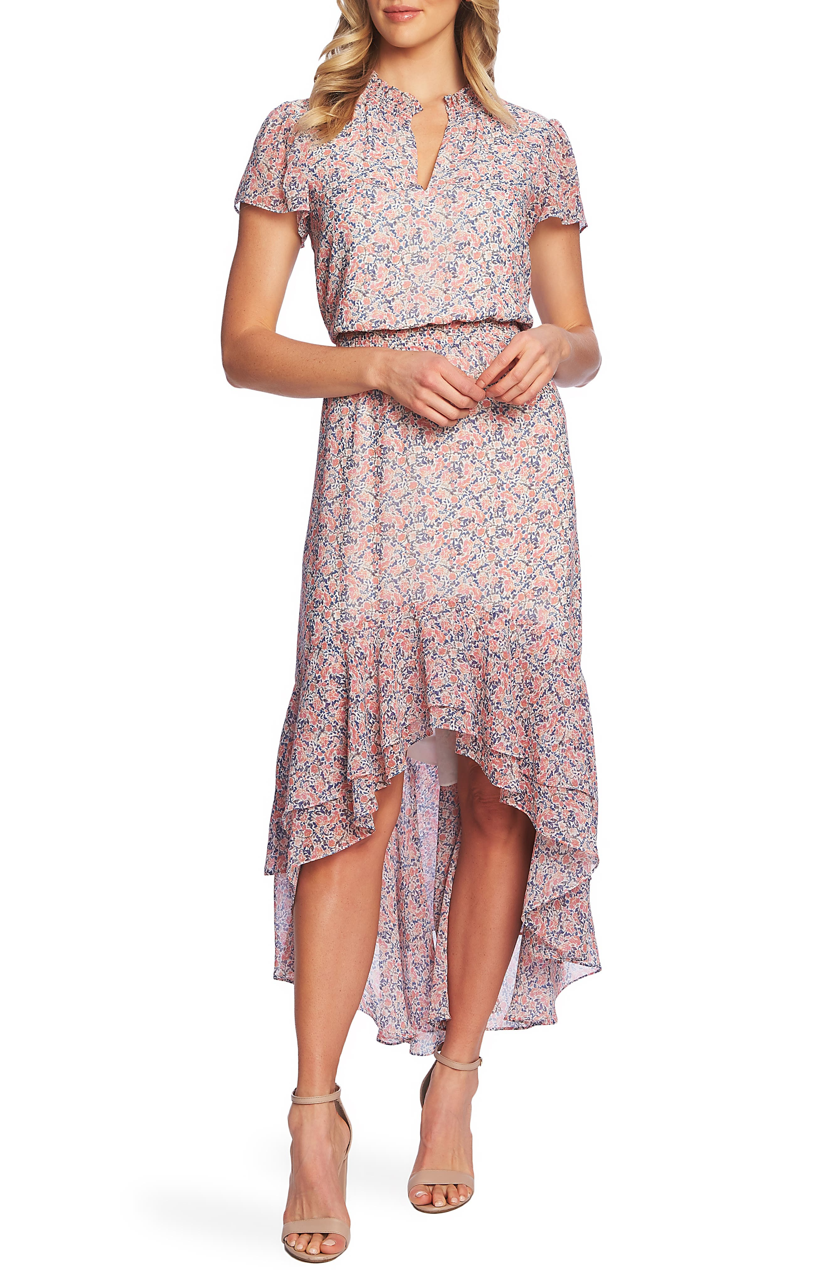 1.state Sunwashed Floral Print High/low Dress, Coral