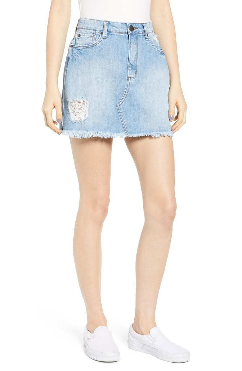 STS BLUE Emily Denim Miniskirt, Main, color, LINSEED