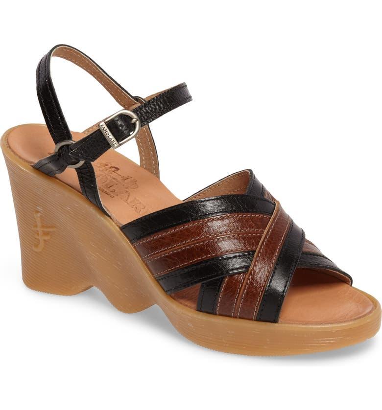FAMOLARE Double Cross Wedge Sandal, Main, color, COAL-EARTH LEATHER