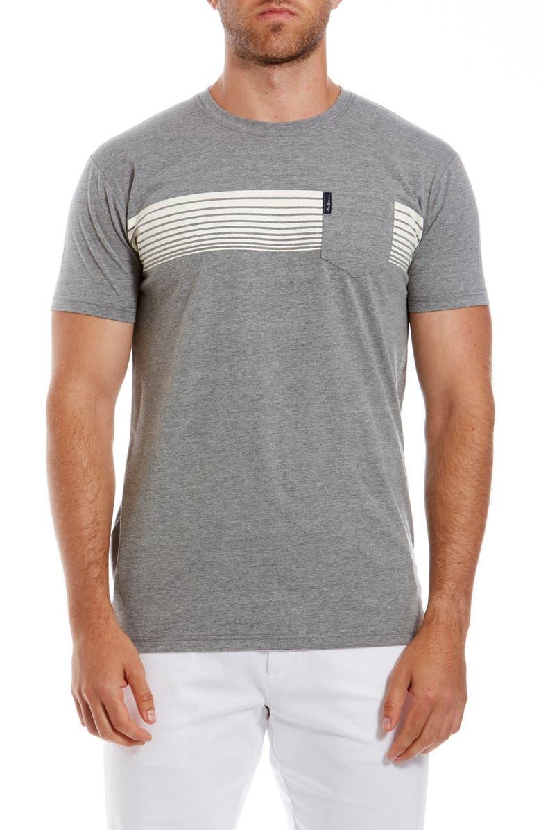 BEN SHERMAN Chest Stripe T-Shirt, Main, color, GREY