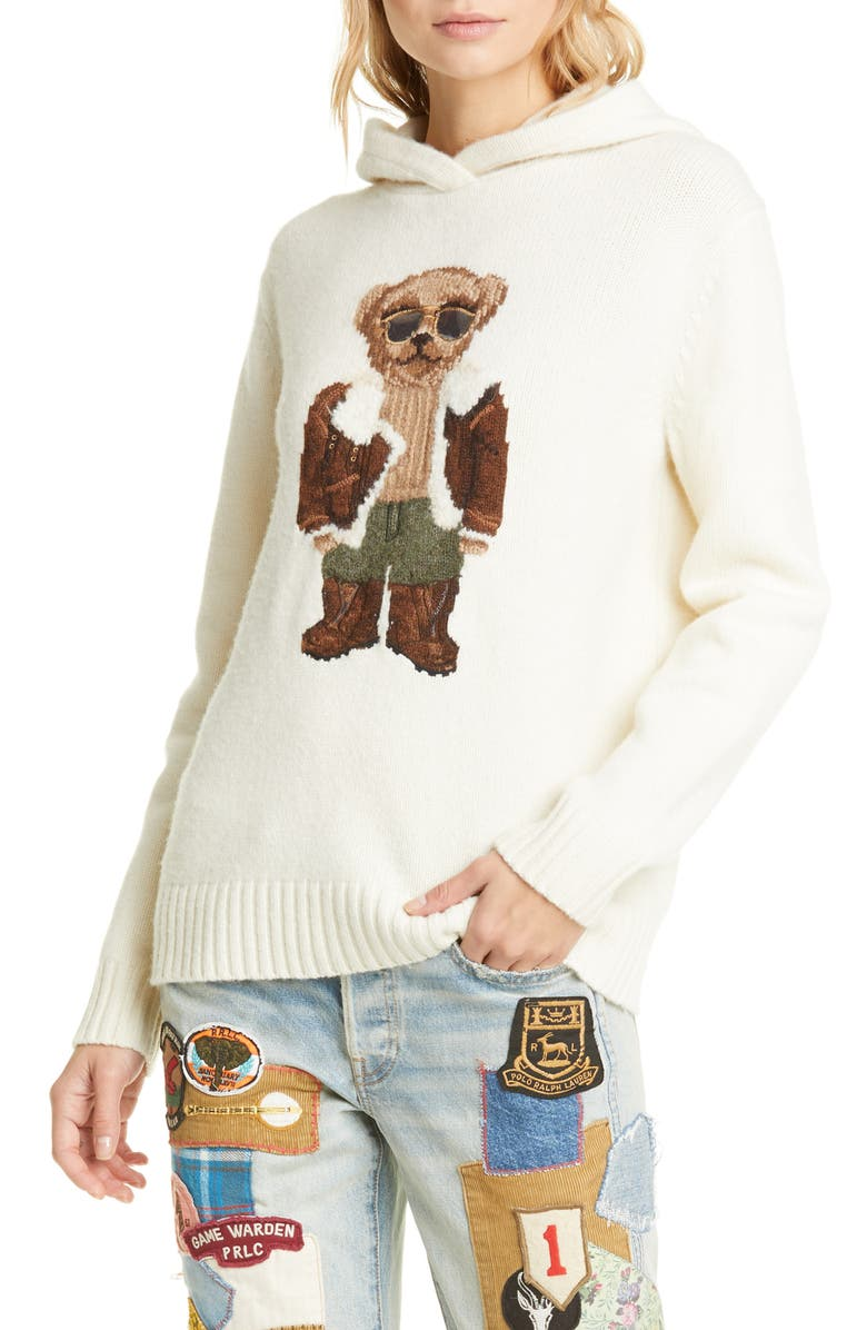 POLO RALPH LAUREN Aviator Bear Hooded Wool Sweater, Main, color, MULTI