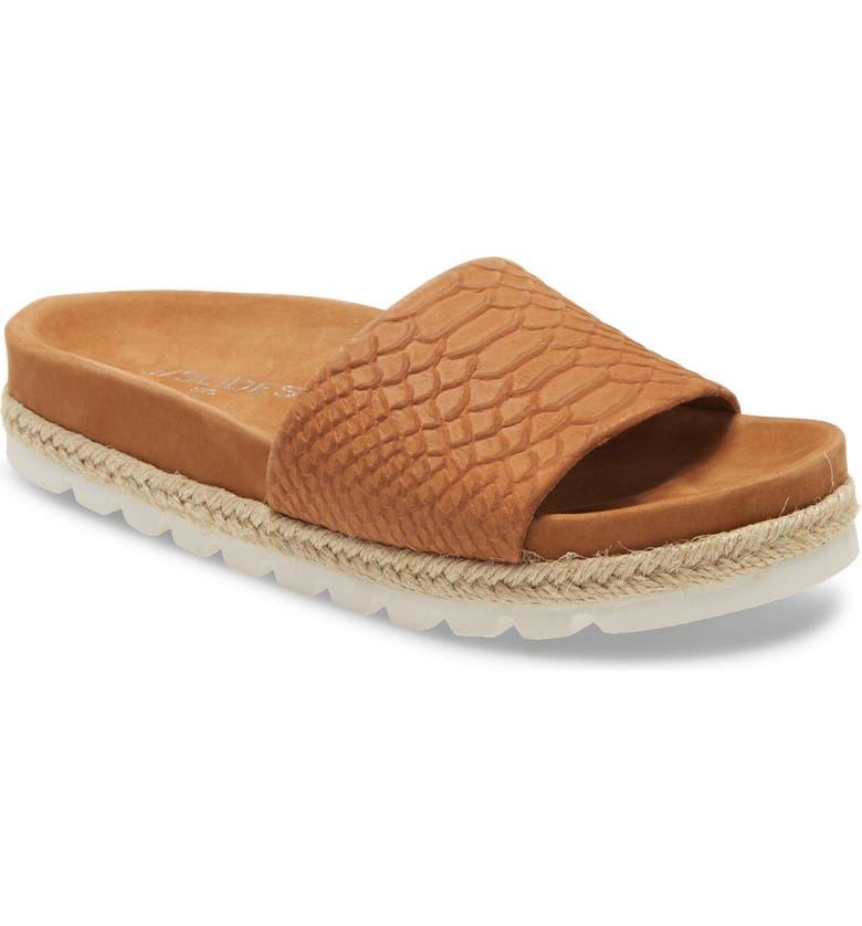 JSLIDES Espadrille Slide Sandal, Main, color, TAN LEATHER