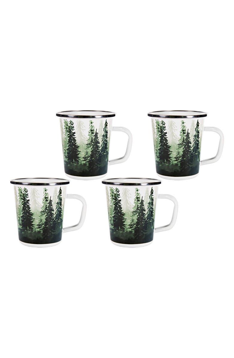 GOLDEN RABBIT Forest Glen Set of 4 Enameled Latte Mugs, Main, color, WHITE